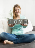 Photo of woman with word Stock Photography