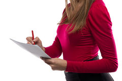 Photo of woman writing notes Stock Image