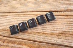 PHOTO wrote with keyboard keys Royalty Free Stock Photos