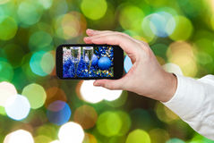 Photo Xmas still life on blurred green background Royalty Free Stock Image