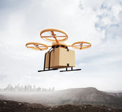 Photo Yellow Color Generic Design Remote Control Air Drone Flying Sky Blank Craft Box Under Earth Surface.Modern City stock photography