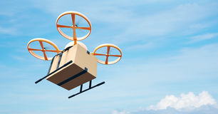 Photo Yellow Generic Design Modern Remote Control Air Drone Flying Empty Craft Box Under Urban Surface.Blue Sky Clouds stock photo