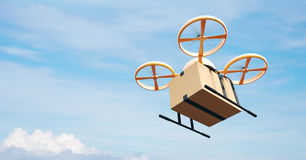 Photo Yellow Generic Design Modern Remote Control Air Drone Flying Empty Craft Box Under Urban Surface.Blue Sky Clouds Royalty Free Stock Image