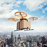 Photo Yellow Generic Design Remote Control Air Drone Flying Sky Empty Craft Box Under Urban Surface.Modern City royalty free stock image