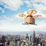 Photo Yellow Generic Design Remote Control Air Drone Flying Sky Empty Craft Box Under Urban Surface.Modern City royalty free stock images