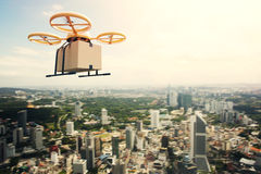 Photo Yellow Generic Design Remote Control Air Drone Flying Sky Empty Craft Box Under Urban Surface.Modern City stock image