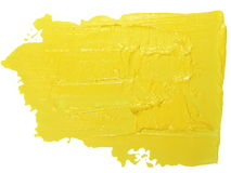 Photo yellow grunge brush strokes oil paint isolated on white Stock Photos