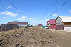 in this photo you can see the state of the roads on an ordinary village street in the usual village of Russia stock image