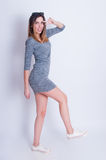Photo of young active woman. Girl posing. Studio photo Stock Photo