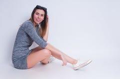 Photo of young active woman. Girl posing. Studio photo Royalty Free Stock Photos
