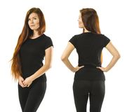 Redhead woman posing with blank black shirt. Photo of a young beautiful redhead woman with blank black shirt, front and back. Ready for your design or artwork stock photos