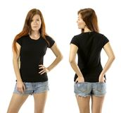 Redhead woman wearing blank black shirt. Photo of a young beautiful redhead woman with blank black shirt, front and back. Ready for your design or artwork stock image