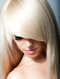 Blond Girl. Healthy Long Blond Hair. Royalty Free Stock Photos
