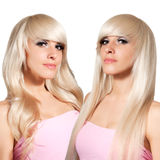 Blonde with different styling. Straight hair and curls. Royalty Free Stock Photo