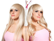 Blonde with different styling. Straight hair and curls. Stock Images