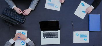 Photo of a young business team working in a modern office. Top v royalty free stock image