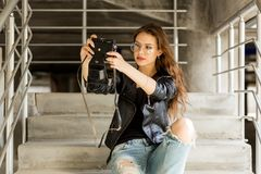 Fashion urban style hipster girl. royalty free stock images