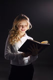 Photo of young girl reading book Stock Photos