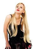 Photo of young magnificent woman in a black dress Royalty Free Stock Photos