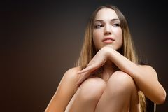 Photo of young magnificent woman with long hair Stock Image