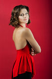 Photo of young magnificent woman in red dress Royalty Free Stock Images