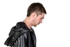 Photo of the young man in profile. On white background stock images