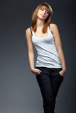 Photo of young sensual woman in jeans Royalty Free Stock Image