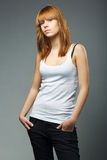 Photo of young sensual woman in jeans Royalty Free Stock Photos