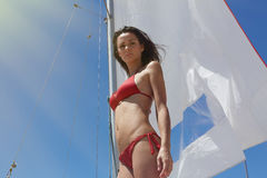 Photo Young Sexy Girl Making Chill Time Yaht Boat.Fitness Active Woman Spending Relax After Water Session Open Sea Stock Photos