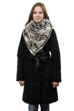 Photo of the young smiling woman in winter coat Royalty Free Stock Images