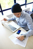 Photo young and talente finance manager working with new project. Stock Photo