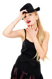 Photo of young woman in a black dress with the hat Royalty Free Stock Photo