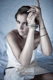 Photo of young woman in bracelet Royalty Free Stock Photos