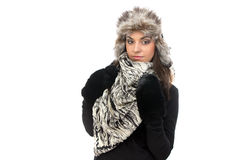 Photo of young woman in fur cap Royalty Free Stock Photos