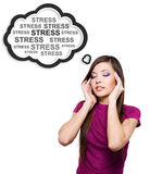 Photo of young woman having stress. Pretty female with hands at temples royalty free stock image