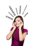 Photo of young woman having stress. Pretty female with hands at temples royalty free stock photo