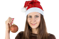 Photo of young woman holding christmas ball Royalty Free Stock Images