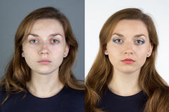 Photo of young woman before and after make up Stock Image