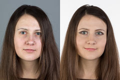 Photo of young woman before and after make up Stock Photo