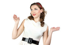 Photo of young woman with open hands Royalty Free Stock Photo