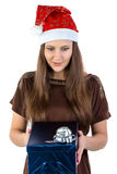 Photo of young woman with the present Stock Photography