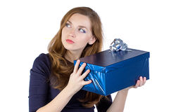 Photo of young woman received the gift Royalty Free Stock Images