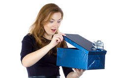 Photo of young woman received the gift Royalty Free Stock Image