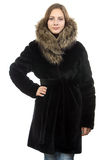 Photo of the young woman in winter coat Stock Image