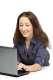 Photo of young woman at work on her laptop Royalty Free Stock Photos