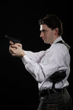 Photo yuong man with gun Stock Photos