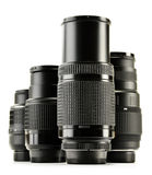 Photo zoom lenses on white background Royalty Free Stock Photos