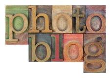 Photoblog in letterzetsel houten type stock afbeeldingen