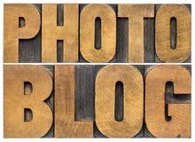 Photoblog typografi i wood typ Arkivbilder