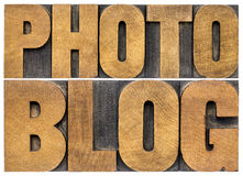 Photoblog typography in wood type Stock Images
